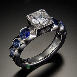 14K Ring with Center Diamond and Sapphires_Side View.jpg