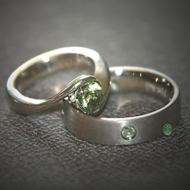 14K White Gold and Maine Tourmaline Wedding Set.jpg