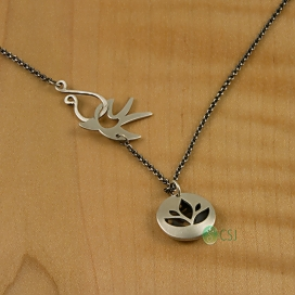 Matte Lotus, Om Pod Pendant with Matte Bird Dark Chain-2.jpg