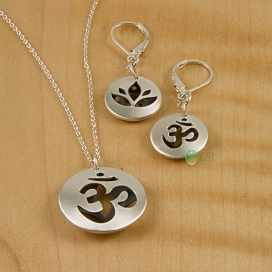 Matte Om, Lotus Pod Lever Earrings & Lrg Pendant-1.jpg