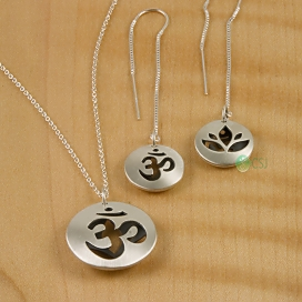 Matte Om, Lotus Pod Thread Earrings & Lrg Pendant-1.jpg