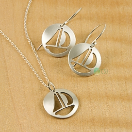 Matte Sail Boat French Hook Earrings & Dainty Pendant-1.jpg