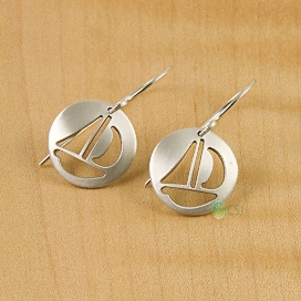 Matte Sail Boat French Hook Earrings-1.jpg