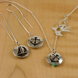 Shiny Sail Boat, Anchor Pod Thread Earrings and Dainty Pendant with Shiny Bird Chain-1.jpg