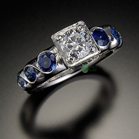 14K Ring with Center Diamond and Sapphires.jpg