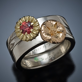 18K Sunflower and Poppy Engagement and Wedding Ring Set_TOP.jpg