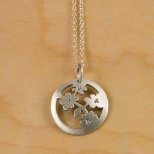 Cherry Blossom Jewelry Round Dainty Pendant