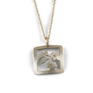 Cherry Blossom Jewelry Square Dainty Pendant