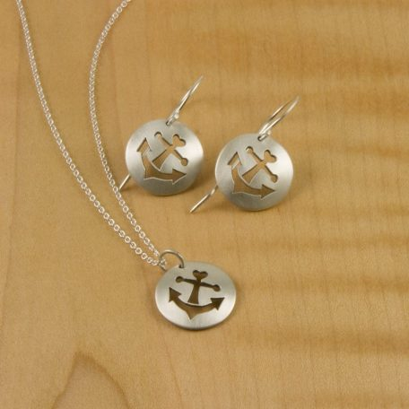 Anchor Earrings and Dainty Pendant