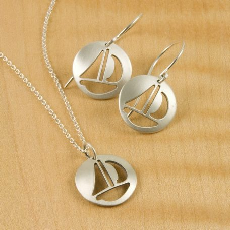 Dainty Sailboat Earrings and Pendant