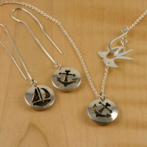Shiny-Sail-Boat-Anchor-Pod-Thread-Earrings-and-Dainty-Pendant-with-Shiny-Bird-Chain-300x300 Dainty Anchor/Boat