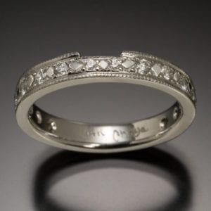 14K Diamond Wedding Band with Bead and Bright Cut Settings 1 300x300 - Custom Made