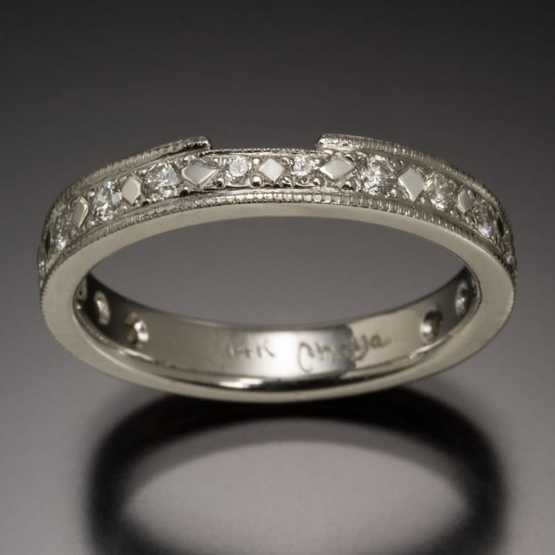 14K Diamond Wedding Band with Bead and Bright Cut Settings 99999x800 - Custom Bridal Jewelry