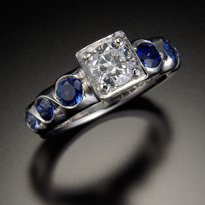 14K Ring with Center Diamond and Sapphires 99999x800 - Custom Bridal Jewelry