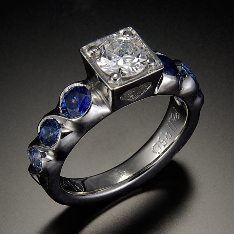 14K Ring with Center Diamond and Sapphires Side View 99999x800 - Custom Bridal Jewelry