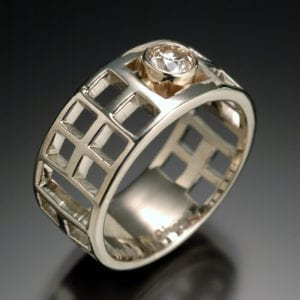 14K White Modesty Diamond Ring 1 300x300 - Custom Made