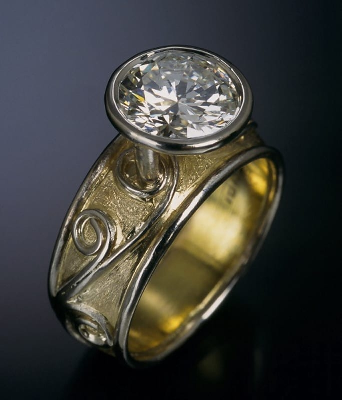 18K Floating Diamond Ring angled view 99999x800 - Custom Bridal Jewelry