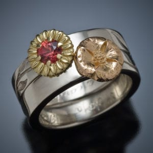 18K Sunflower and Poppy Engagement and Wedding Ring Set TOP 300x300 - Custom Made
