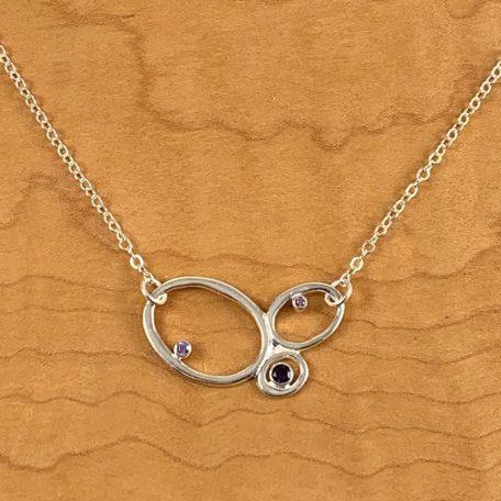 3 Pebble Necklace_Amethyst_Purple Sapphires
