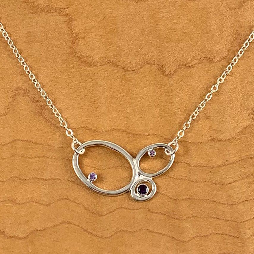 3 Pebble Necklace Amethyst Purple Sapphires - Shop Chaya Studio Jewelry