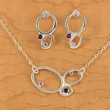 Jessica Earrings and 3 Pebble Necklace_silver with amethyst and sapphire_shiny