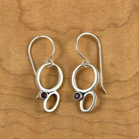 Jessica Earrings_silver with 3mm garnets_matte