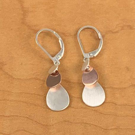 3-Tier Cascade Earrings_Leverback_14KR and Fine Silver